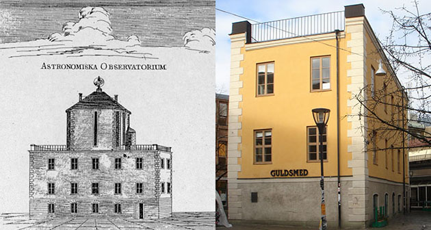 An old picture of the Celsius building when it used to be an observatory, next to a picture of the building today. The old picture has a tower that the new is missing.